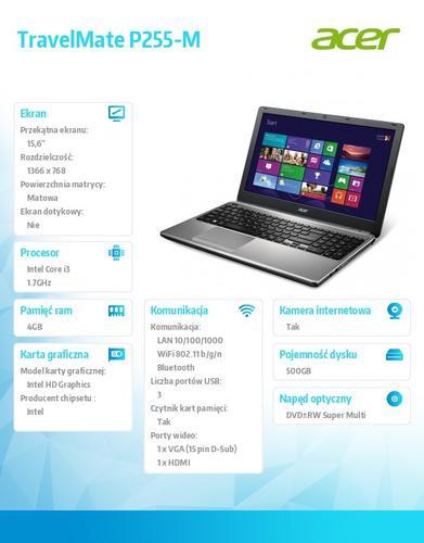 "Acer TravelMate P255-M-34014G50MNKK i3-4010U/15.6""/4GB/500GB/Intel HD/DVD SM DL/4c/BT/W7Pro (W8.1Pro)ED"