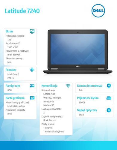 "Dell Latitude E7240 W78.1 (lic 64-bit Win8, nosnik) i7-4600U/256SSD/8GB/HD4400/BT 4.0/4CELL/3Y NBD/12,5"" HD"