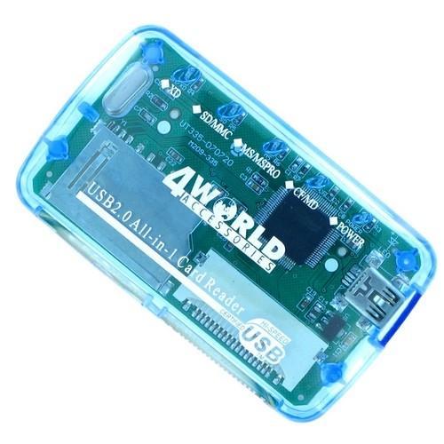 4World Czytnik kart flash 26w1 USB 2.0