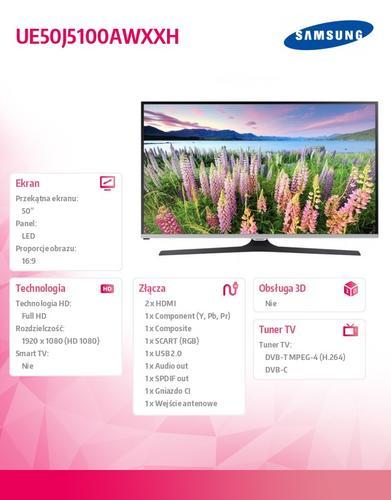 "Samsung 50"" TV Slim LED Full HD UE50J5100AWXXH"