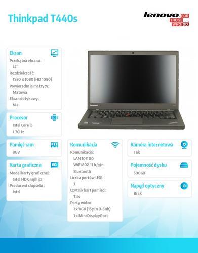 """Lenovo Thinkpad T440s 20ARA1GXPB Win7Pro & Win8.1Pro64-bit i5-4210U/8GB/500GB/Intel HD/N-Optical/3c/14.0"""" FHD,WWAN Ready,Black/3Yrs OS"""