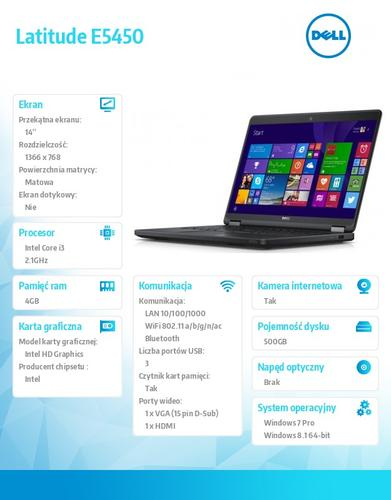 "Dell Latitude E5450 Win78.1Pro(64-bit win8, nosnik) i3-5010U/500GB/4GBBT 4.0/4-cell/Office 2013 Trial/UMA/KB-Backlit/14.0""HD/3Y NBD"