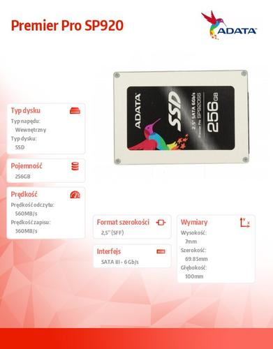 A-Data SSD Premier Pro SP920 256GB 2.5'' SATA3 Marvell 88S9189 560/360 MB/s