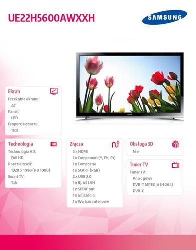 Samsung 22'' TV Slim LED Full HD UE22H5600AWXXH