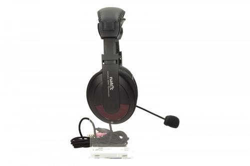 NATEC Słuchawki GRIZZLY + Mikrofon Black-Cherry