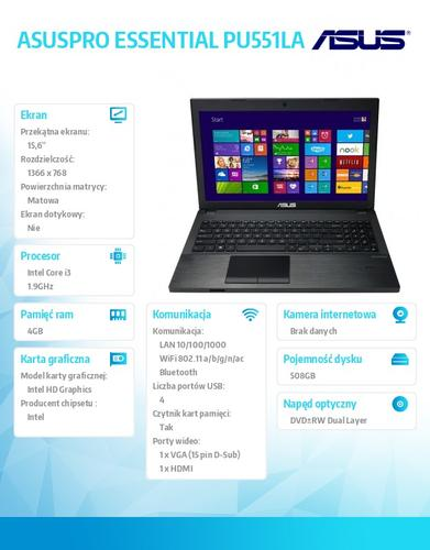 "Asus ASUSPRO ESSENTIAL PU551LA-XO164G Win8.1 Pro DP i3-4030U/4GB/500GB+8GB SSD/HD4400/8DL/15.6"" HD AG Dark Gray"