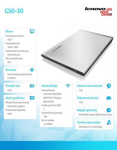 """Lenovo G50-30 80G001V2PB Win8.1 Bing N3540/4GB/1TB/15.6"""""""