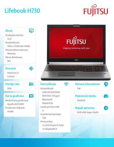 Fujitsu Lifebook H730 W8.1P i7-4600M/2x4G/SSHD1TB+8G SSD EM8805 LKN:H73