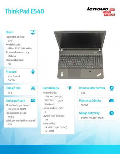 "Lenovo ThinkPad E540 20C600JHPB Win7Pro & Win8.1Pro i5-4210M/4GB/500GB/GT740M 2GB/DVD Rambo/6c/15.6"" FHD AG, Midnight Black (Non-WWAN)"