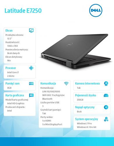 "Dell Latitude E7250 Win78.1Pro(64-bit win8, nosnik) i7-5600U/256GB/8GB/BT 4.0/4-cell/Office 2013 Trial/KB-Backlit/12""/3Y NBD"