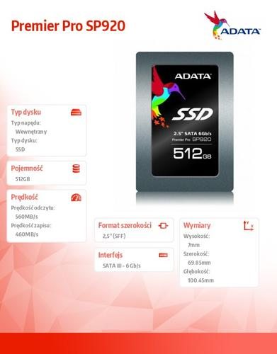 A-Data SSD Premier Pro SP920 512GB 2.5'' SATA3 Marvell 88S9189 560/460 MB/s