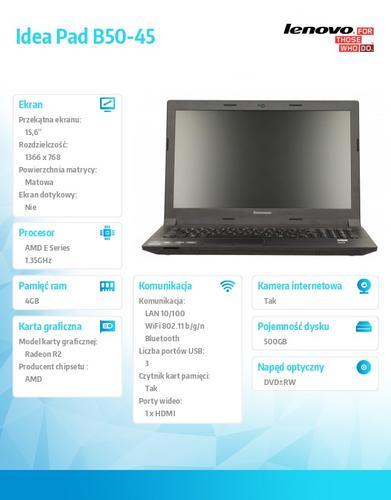 """Lenovo B50-45 59-429039 Win8.1 with Bing E1-6010/4GB/500GB/DVD Rambo/4c/15.6"""" HD AG Black,N-WWAN/1Yr CI"""
