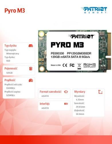 Patriot Pyro M3 mSATA3 120GB 550MB/s 525MB/s 85k IOPs