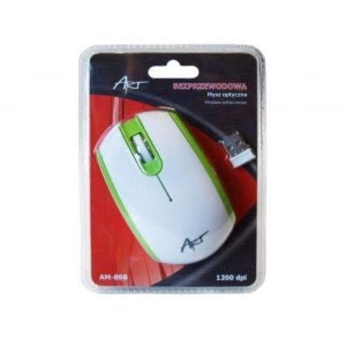 ART Mysz bezprzewodowo-optyczna AM-89B biało-zielona
