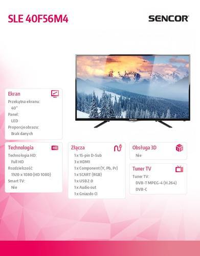 SENCOR 40'' SLE 40F56M4 FULL HD,DVB-T/C,MPEG-4,TIMESHIFT