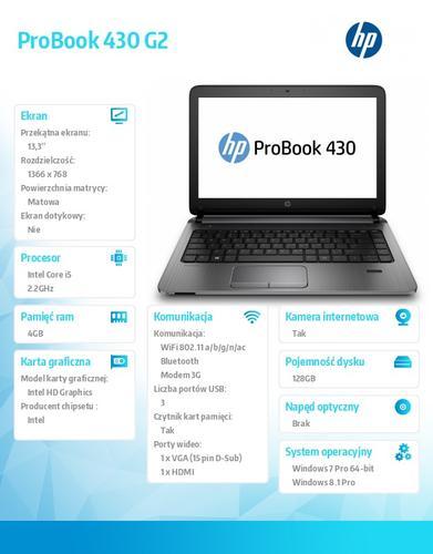 HP 430 G2 i5-5200U W78P 128/4G/13,3 K9J79EA