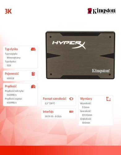 """Kingston HyperX 3K SERIES 480GB SATA3 2,5""""+adapter 3,5"""" 540/450MB/s 9,5mm"""