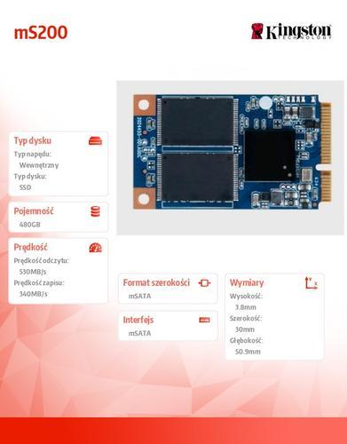 Kingston mS200 SERIES 480GB mSATA3 530/340 MB/s