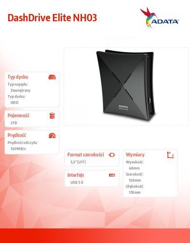 A-Data DashDrive Elite NH03 2TB 3.5'' USB3.0 czarny