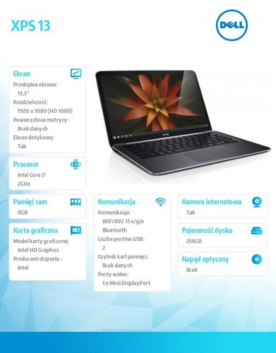 """Dell XPS 13,3 W8.1Pro i7-4510U/8GB/256SSD/HD4000/6cell/13,3"""" FHD Touch/2YDND"""