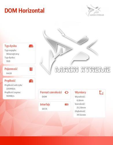 Mach Xtreme SATA DOM SSD 64GB 220/90 MB/s Horizontal MLC 20nm