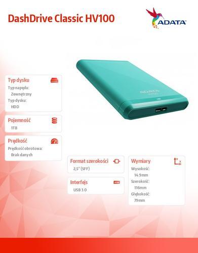 A-Data DashDrive Classic HV100 1TB 2.5'' USB3.0 Blue