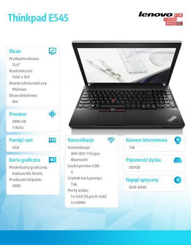 "Lenovo Thinkpad E545 20B2000TPB Win8 A8-4500M/4GB/500GB/AMD Radeon HD Integrated/DVD Rambo/6c/15.6"" HD AG,Midnight Black/N-WWAN/1Yr CI"