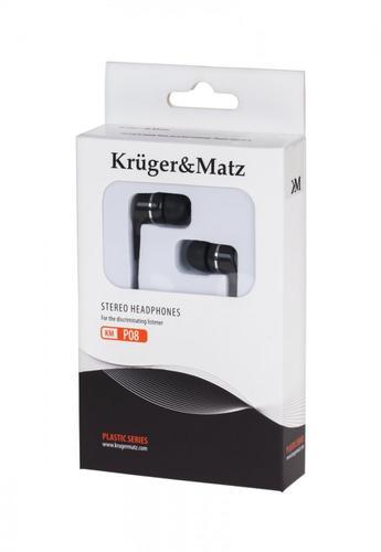Kruger & Matz Słuchawki przewodowe douszne czarne KMP08