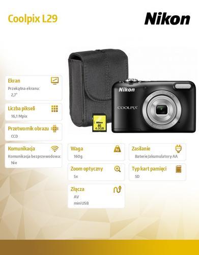 Nikon L29 black + karta SD 4GB + pokrowiec