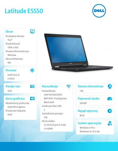 "Dell Latitude E5550 Win78.1Pro(64-bit win8, nosnik) i3-5010U/500GB/4GB/BT 4.0/Office 2013 Trial/4-cell/KB-Backlit/15.6""HD/3Y NBD"