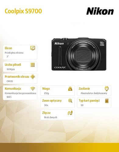 Nikon Coolpix S9700 black16MPx,30xOZ,1080p