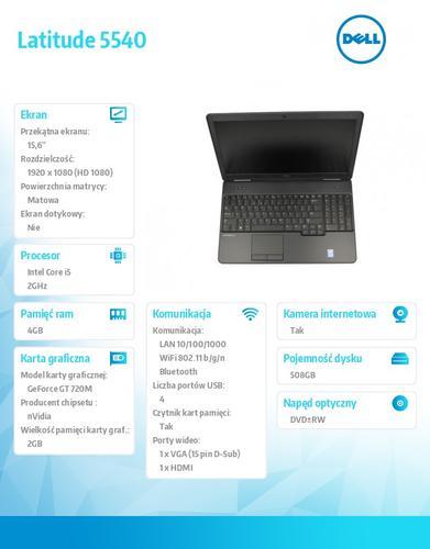 Dell Latitude E5540 W78.1 (lic 64-bit Win8, nosnik) i5-4310U/500+8GB SSHD/ 4GB/GT720M 2GB/DVD-RW/6Cell/3Y NBD/15'6 FHD