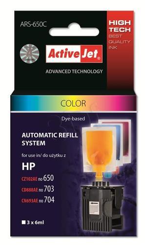 ActiveJet automatyczny system napełniania ARS-650 trójkolorowy do HP 703/704/650 6x4ml