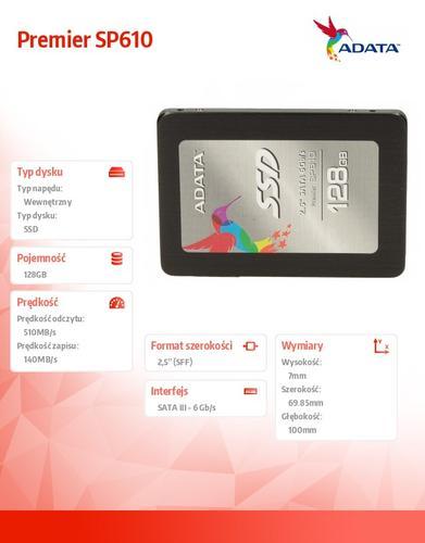 A-Data SSD Premier SP610 128GB 2.5'' SATA3 SMI Sync 560/150 MB/s