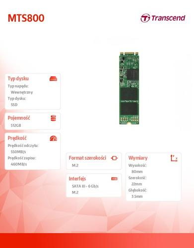Transcend SSD M.2 2280 512GB SATA3 MLC INDUSTRIAL