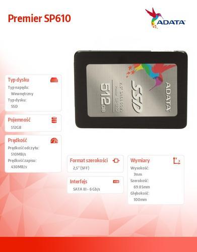 A-Data SSD Premier SP610 512GB 2.5'' SATA3 SMI Sync 560/450 MB/s