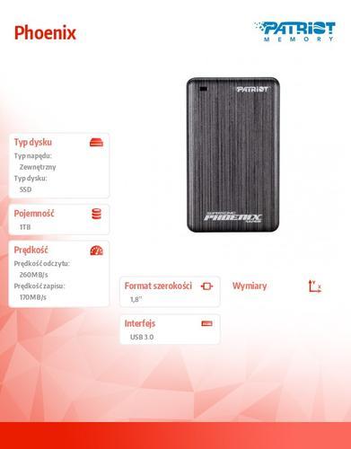 Patriot Phoenix 1TB USB3.0 SSD 260 MB/s