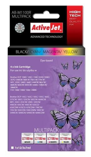 ActiveJet AB-M1100R multipack tusz czarny, cyan, magenta, żółty do drukarki Brother (zamiennik Brother LC1100, LC980) Premium