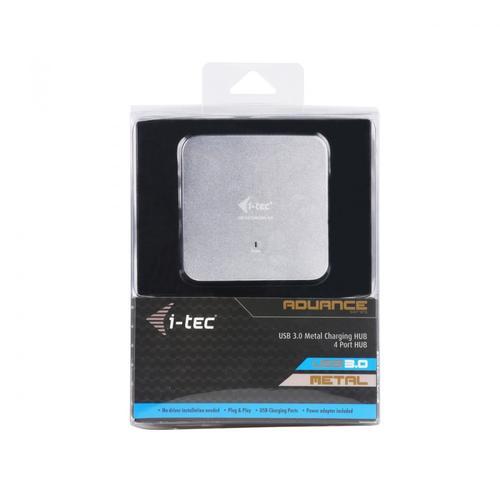 i-Tec USB 3.0 Metal Charging HUB 4 Porty z zasilaczem, Plug & Play, funkcja ładowania