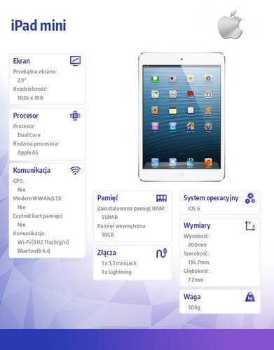 Apple iPad mini z WiFi 16GB Biało-srebrny MD531FD/A