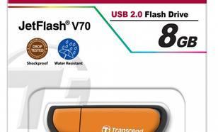 Transcend JETFLASH V70 8GB USB2.0 ORANGE SHOCK/WATER PROOF