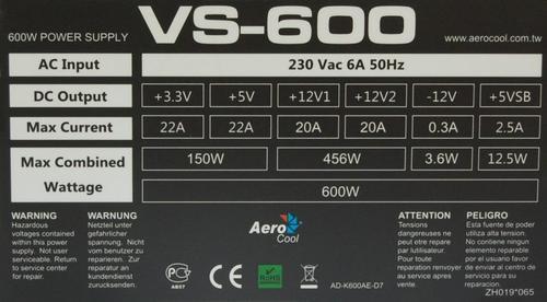Aerocool VS 600W PFC ATX BULK bez kabla zasilającego