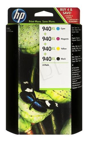 HP Tusz HP940XL=C2N93AE, Zestaw CMYBk, C4907AE+C4908AE+C4909AE+C4906AE