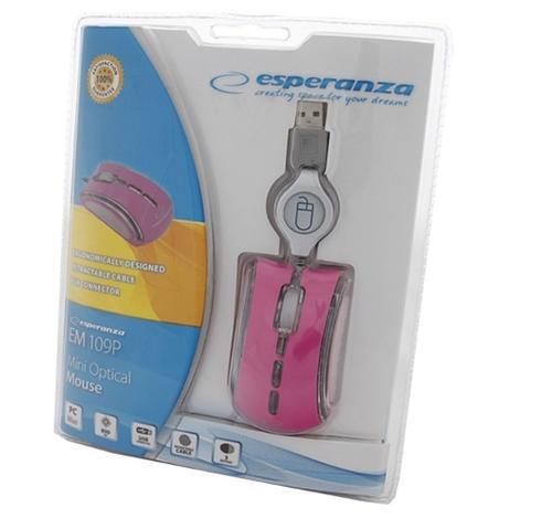ESPERANZA Mysz Optyczna do Notebooka Neon EM109P USB różowa