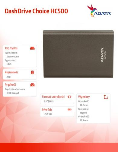 A-Data DashDrive Choice HC500 2TB 2.5'' USB3.0 Titan