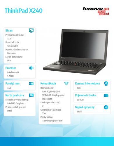 """Lenovo ThinkPad X240 20AL00FGPB Win7Pro & Win8.1Pro 64-bit i5-4210U/4GB/500GB/Intel HD/N-Optical/3c/12.5"""" HD IPS Black, WWAN Ready"""