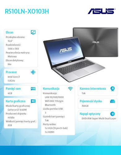 "Asus R510LN-XO103H Win8 i7-4500U/4GB/750GB/GF840M 2GB/8DL/4c/15.6"" HD non glare DARK GREY"
