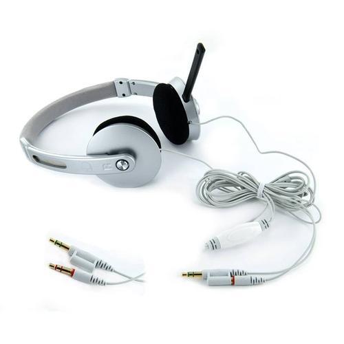 4World Słuchawki stereo AudioPC z mikorfonem, srebrne 08255
