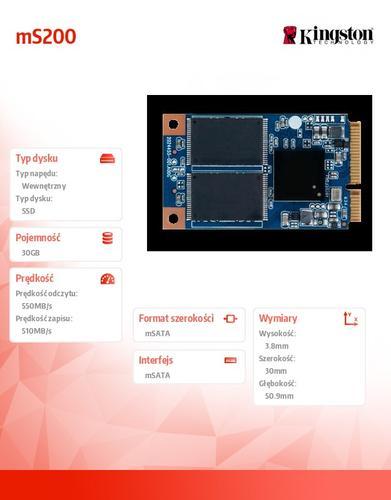 Kingston mS200 SERIES 30GB mSATA3 550/510MB/s