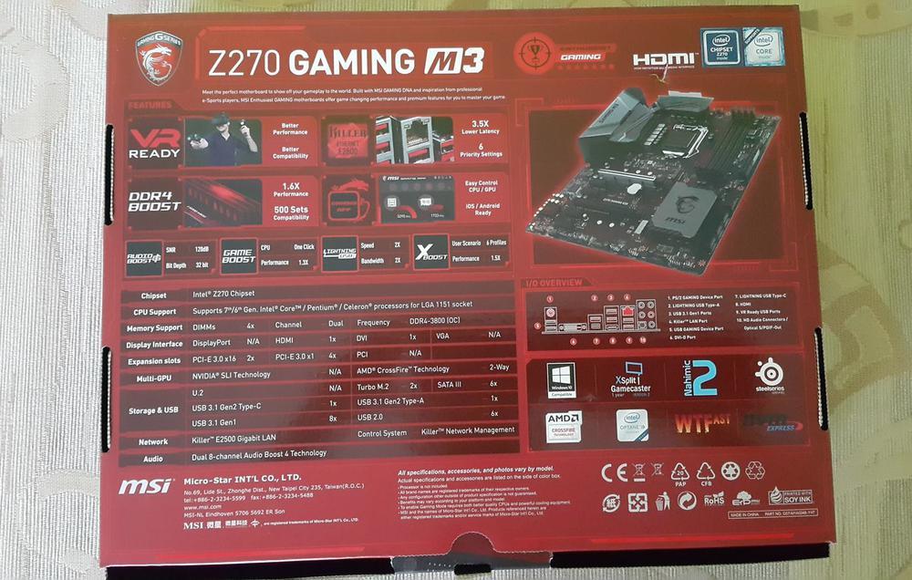 MSI Z270 Gaming M3 Pudełko Tył